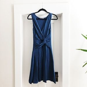 SOFT + FLATTERING Velvet Tie-Front Cotton Dress S